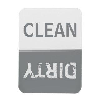 Clean Dirty Sleek Silver Dishwasher Rectangular Photo Magnet