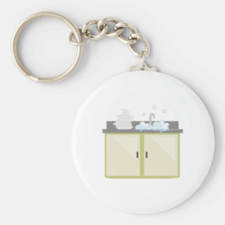 Clean Dishes Basic Round Button Key Ring
