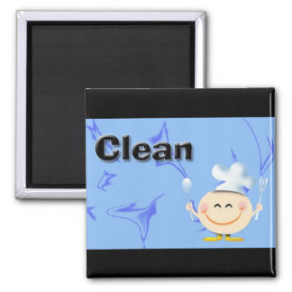 Clean dishes square magnet