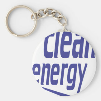 Clean energy basic round button key ring
