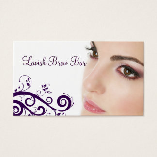 Clean Floral Cosmetology Business Card (Purple)