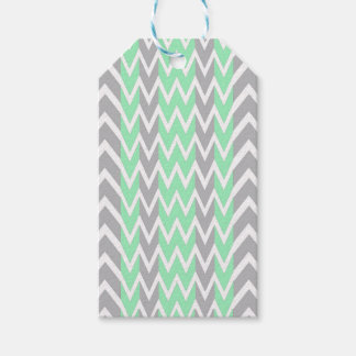 Clean Gray and Green Chevron Humps Gift Tags