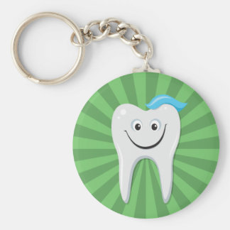 Clean green happy cartoon tooth with tooth paste basic round button key ring