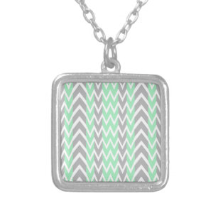 Clean Grey and Green Chevron Humps Silver Plated Necklace