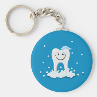 Clean happy tooth with bubbles keychain
