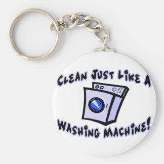 Clean Like A Washing Machine Basic Round Button Key Ring
