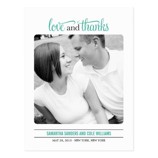 Clean Look Wedding Thank  You Card Postcards