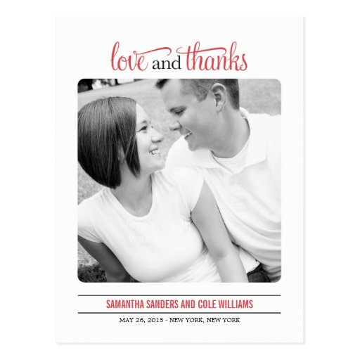 Clean Look Wedding Thank  You Card Post Cards