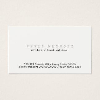 clean & minimal basic white writer / book-editor business card