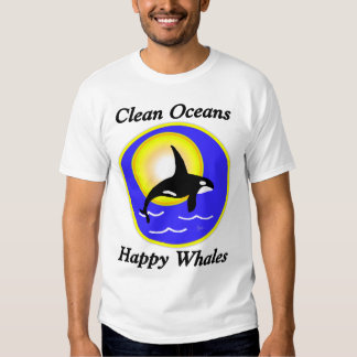 Clean Ocean Happy Whales Contrast T Tee Shirts