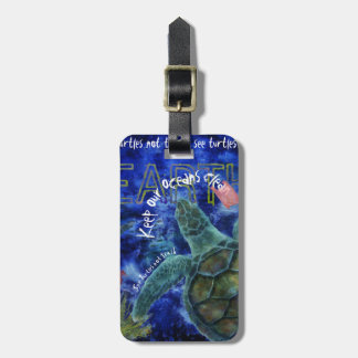 Clean Ocean Sea Turtle Art Luggage Tag
