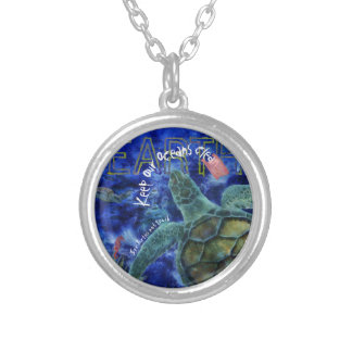 Clean Ocean Sea Turtle Art Silver Plated Necklace