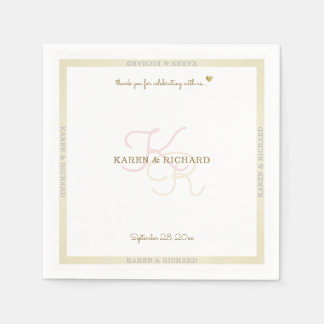 clean pale colors monogrammed wedding reception disposable napkins