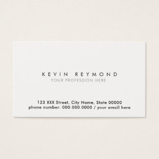 clean simple & minimal basic white professional business card