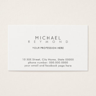 clean simple & minimal contact white professional business card