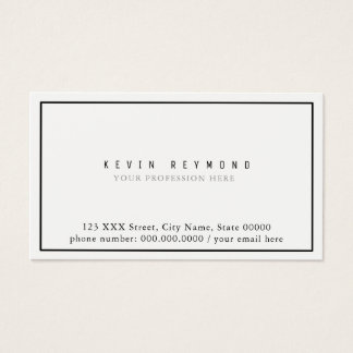 clean simple & minimalist basic white professional business card