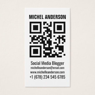 Clean simple white vertical qr code business card