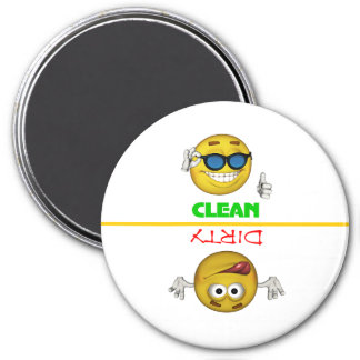 Clean Smiley/Dirty Faces Dishwasher 7.5 Cm Round Magnet