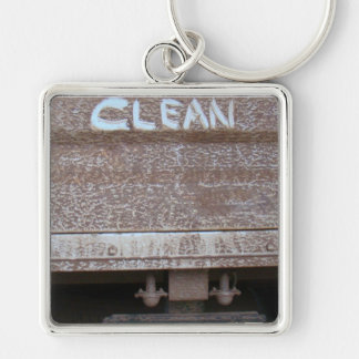 Clean 'Tailgate Talk' Silver-Colored Square Key Ring