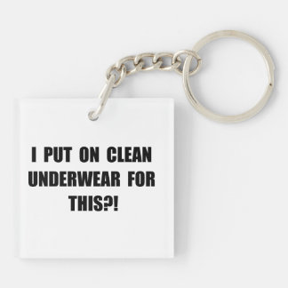 Clean Underwear Double-Sided Square Acrylic Key Ring