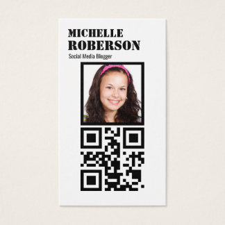 Clean vertical white qr code and photo business card