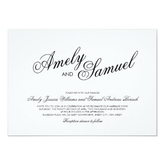 Clean White Elegant Calligraphy Wedding Invitation