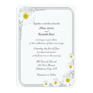 Clean White Flower Modern Wedding Invitation