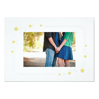Clean White Flower Save The Date Card with Photo 13 Cm X 18 Cm Invitation Card