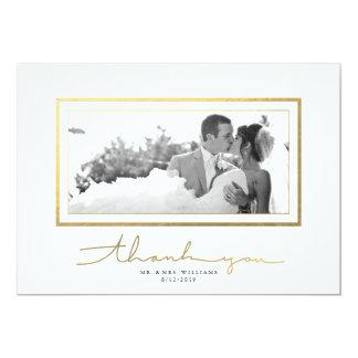 Clean White Gold Script Elegant Thank You Card