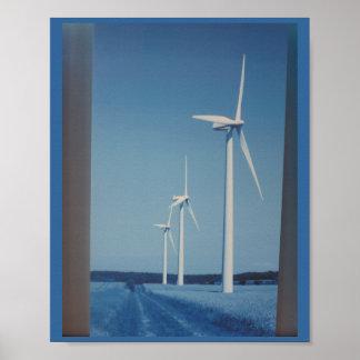 CLEAN Wind Energy Gaint Wheel Fan on Land Mountain Poster