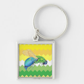 Clean Yellow and Green Chevron Silver-Colored Square Key Ring
