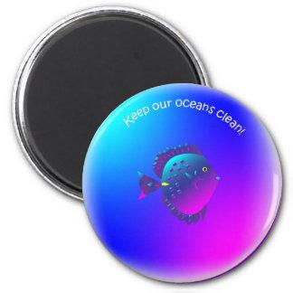 cleanbubble-purpletang fish 6 cm round magnet