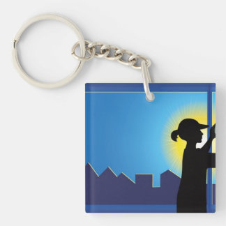 Cleaning Business Double-Sided Square Acrylic Key Ring