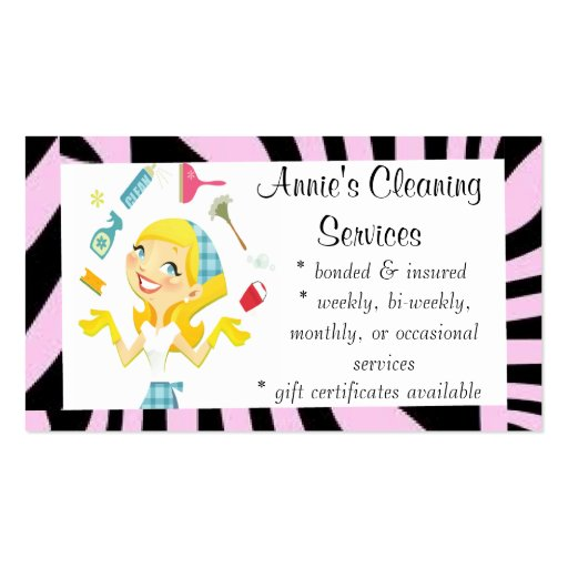 Cleaning services maid business card purple