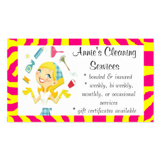 Cleaning services maid business card yellow
