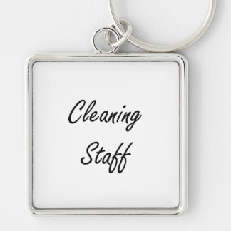 Cleaning Staff Artistic Job Design Silver-Colored Square Key Ring
