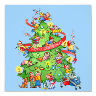 Cleaning The Christmas Tree Holidays Greeting Card 13 Cm X 13 Cm Square Invitation Card