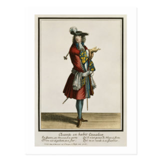Cleante Dressed as a Cavalier, fashion plate, c.16 Postcard