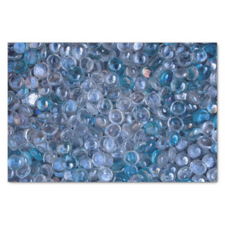 Clear and Blue Tinted Glass Marbles in Water Tissue Paper