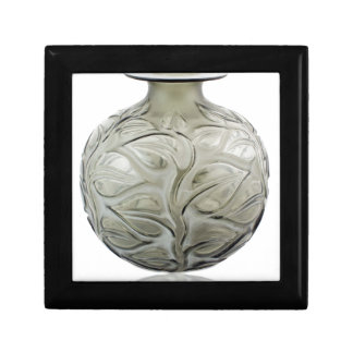 Clear Art Deco glass vase with flower design. Gift Box