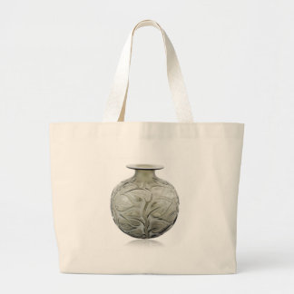 Clear Art Deco glass vase with flower design. Large Tote Bag