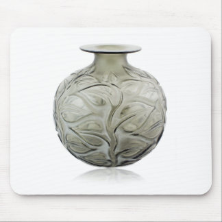 Clear Art Deco glass vase with flower design. Mouse Pad