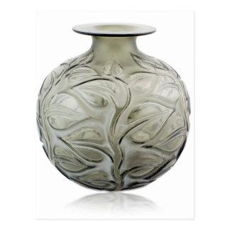 Clear Art Deco glass vase with flower design. Postcard
