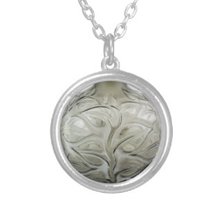 Clear Art Deco glass vase with flower design. Silver Plated Necklace
