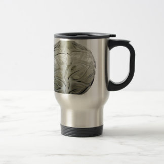 Clear Art Deco glass vase with flower design. Travel Mug