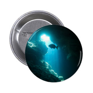 Clear blue cave and fish 6 cm round badge