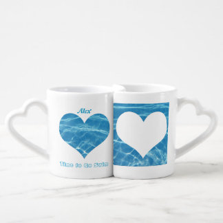 Clear Cool Blue Aquatic Pool Water Hearts Swimming Lovers Mugs