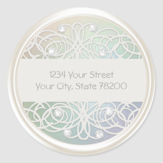Clear Crystal and Pearl Damask Return Address Round Sticker