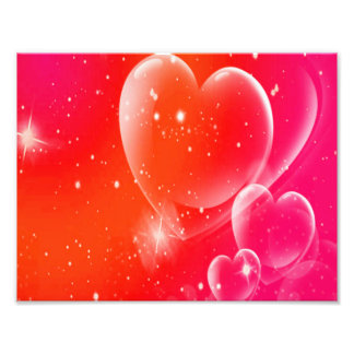 Clear Hearts On Pink & Orange Swirl Photo