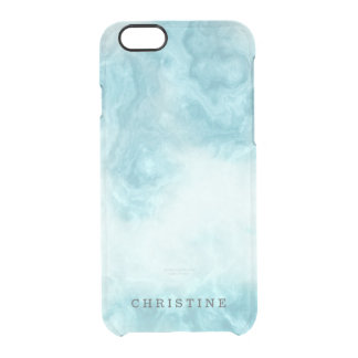 Clear monogram name blue marble agate watercolor clear iPhone 6/6S case